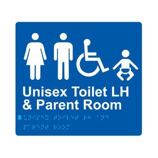 Braille Sign Unisex Accessible Toilets LH & Parents Room - Blue/White