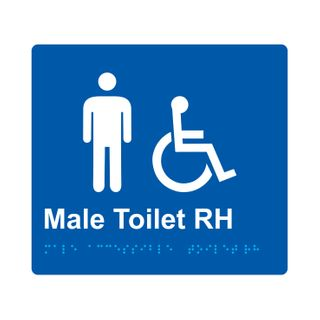 Braille Sign Male Accessible Toilet RH - Blue/White