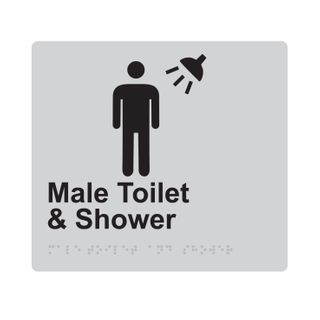 Braille Sign Male Toilet And Shower - Silver/Black