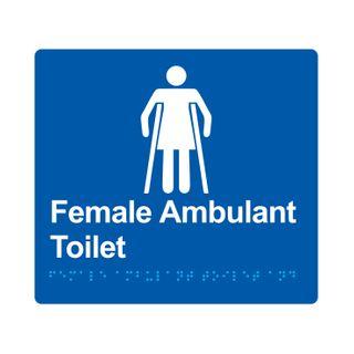 Braille Sign Female Ambulant Toilet - Blue/White