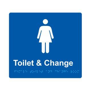 Braille Sign Female Change Room  - Blue/White