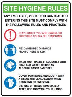 Sign PVC -  Site Hygiene Rules - 300x225mm #