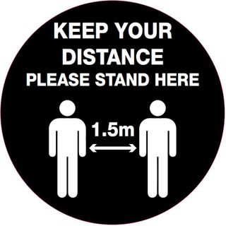 Floor Graphic -  Keep your distance please stand here - 400mm diameter #