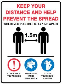 Sign PVC -  Keep your distance and help prevent the spread - 300x225mm #