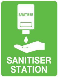 Sign PVC -  Sanitiser Station - 300x225mm #
