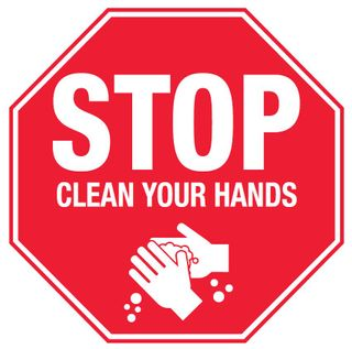 Sign PVC -  STOP Clean Your Hands - 300x300mm #