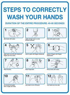 Sign PVC -  Correct Handwashing Steps - 300x225mm #
