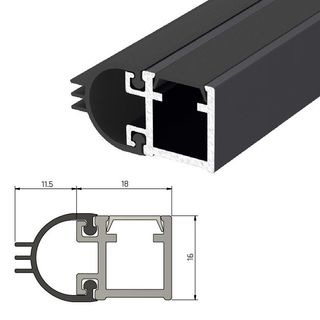 IS7080si Medium Duty Perimeter Seal Fire Rated - 2500mm - BLACK Anodised #
