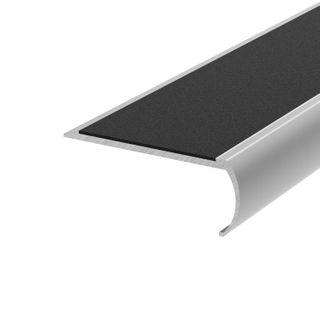 Bullnose Aluminium Stair Nosing With Black Non-Slip Infill 3000mm #