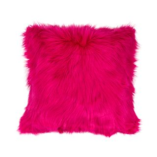 PINK FAUX FUR CUSHION IN COVER 45CM