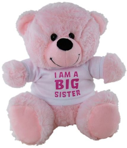 BEAR PINK I AM BIG SISTER SHIRT 23CM
