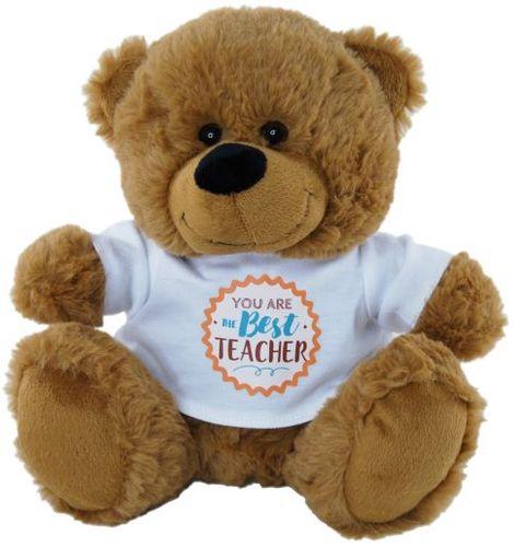 BEAR BROWN  BEST TEACHER SHIRT 23CM