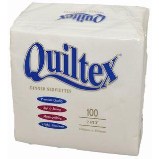 Quilted Dinner Serviette - White (9x100)