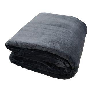 Blanket - Coral Fleece Charcoal Single