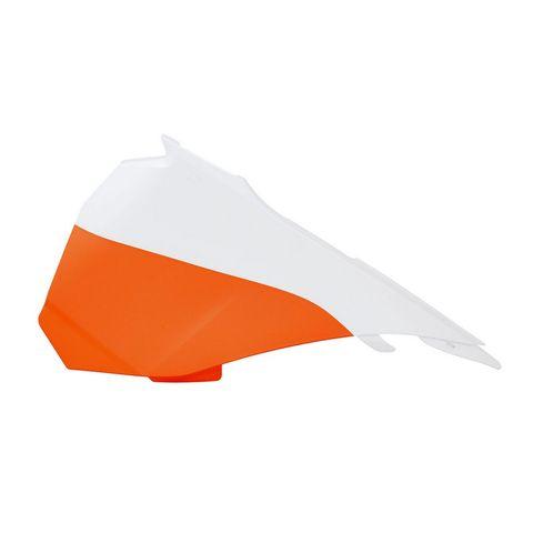 *AIR BOX COVER LEFT HAND RTECH KTM 85SX 13-17 WHITE ORANGE