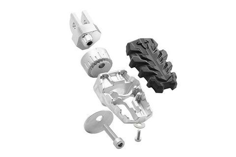 *FOOTREST SW MOTECH EVO . PIVOTABLE, TEETHED ELEMENTS OFFER 36 POSSIBLE SETTINGS.