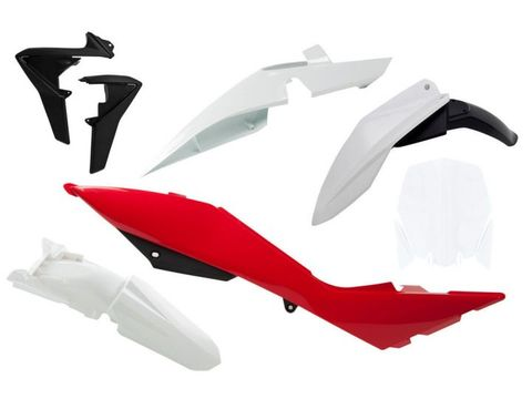 PLASTIC RTECH FRONT / REAR FENDERS SIDEPANEL& RADIATOR SHROUD& FRONT NUMBERPLATE TC449 511 TE449 511