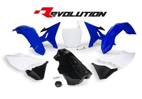 REVOLUTION PLASTICS KIT YAMAHA YZ125 YZ250 YZ250X 02-21 BLUE WHITE