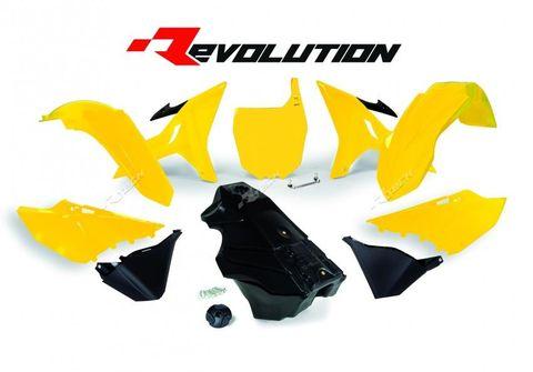 REVOLUTION PLASTICS KIT YAMAHA YZ125 YZ250 YZ250X 02-21 YELLOW BLACK