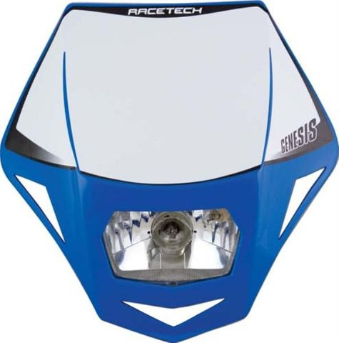 *HEADLIGHT RTECH GENESIS TM E9 CERT PARK LIGHT & HALOGEN BA20D 12V 35W BULB & HOLDERS & FORK STRAPS