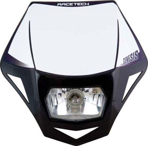 HEADLIGHT ASSY RTECH GENESIS E9 CERT PARK LIGHT & HALOGEN BA20D 12V 35W BULB & HOLDERS & FORK STRAPS