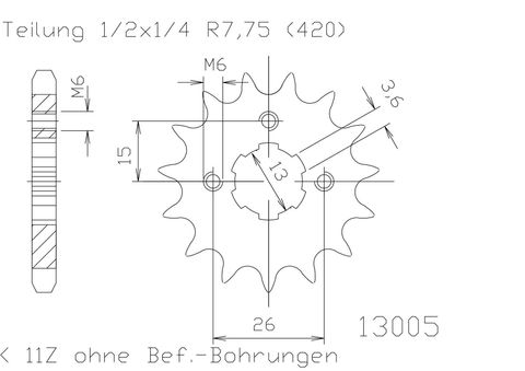SPROCKET FRONT ESJOT SUZUKI ALT50 LT50 JR50 TS50 KDX50 DT50 83-06
