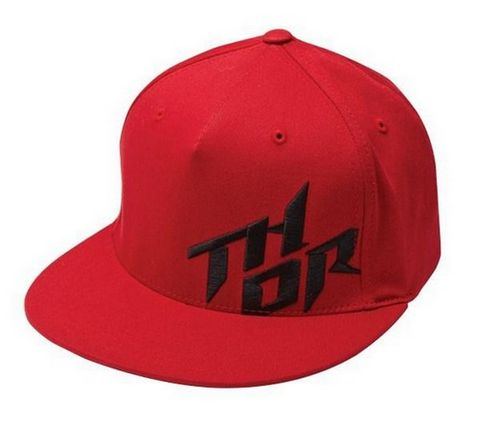 HAT THOR STACKED CURVED BILL FLEXFIT RED LARGE XL