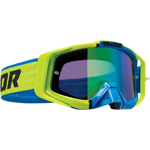 THOR MX GOGGLES S22 SNIPER PRO DIVIDE LIME BLUE INCLUDES SPARE CLEAR LENS #