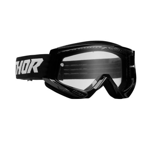 THOR MX GOGGLES S22 YOUTH COMBAT SOLID BLACK/WHITE