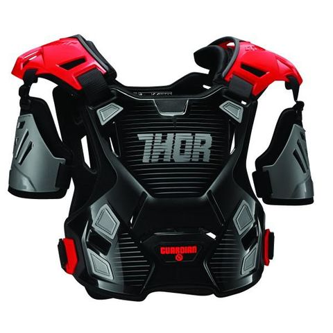 GUARDIAN THOR CHEST PROTECTOR CHILD BLACK RED 2XS XS {SUITS MOST RIDERS 18-27KG}