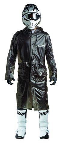 TRENCH COAT THOR MX EXCEL RAIN BLACK ONE  FITS MOST
