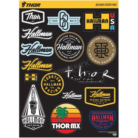 DECAL SHEET THOR MX HALLMAN 16 DECALS IN MULTIPLE COLORS AND SIZE 9 INCH X 13 INCH