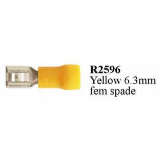 YELLOW 6.3 MM FEMALE SPADE TERM. PT. INS.  (200PACK)