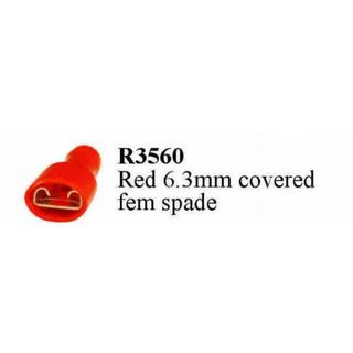 TERMINAL RED FEMALE 6.3 SPADE FULLY INS.  (200PACK)