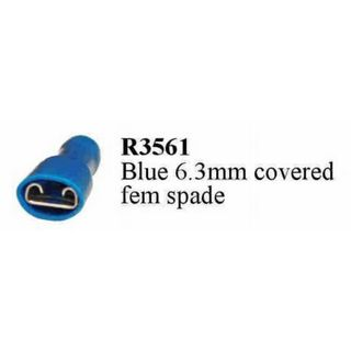 TERMINAL SPADE BLUE FEMALE 6.3 FULLY INSULATED (200PACK)