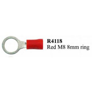 RED M8 RING TERMINAL PRE INSULATED  (200PACK)