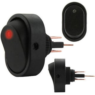 ROCKER SWITCH ON/OFF RED ILLUMINATION (12MM MOUNTING HOLE)
