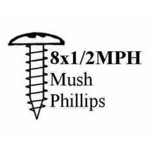 "8 X 1/2"" MUSH POZI STP SCREW BLACK"