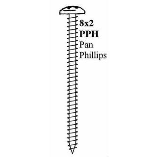 "8 X 2"" PAN PHIL STP SCREW BLACK"