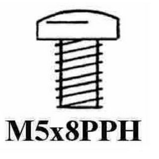 5 X 8MM PAN MTS SCREW ZINC PLATED