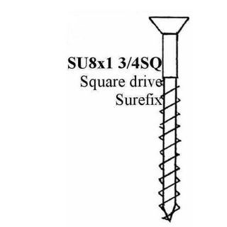 "FASTENERS SUREFIX COUNTER SUNK WOOD SCRE 8 1 3/4"" SQUARE DRIVE"