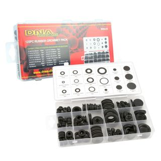 RUBBER GROMMET 18X MIXED SIZES WIT/WITHOUT HOLES (125 BOXED