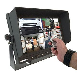 """RM90C-QUAD 9"""" DASH MOUNT 4 PIN 12-24 VOLT LCD MONITOR WITH QUAD VIEW"""