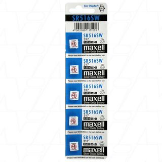 MAXELL SILVER OXIDE SR516SW WATCH BATTERY BUTTON CELL 5 PACK