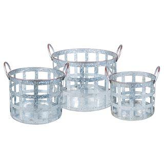 Set 3 Round Metal Baskets