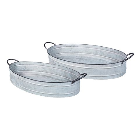 Set 2 Oval Zinc Trays