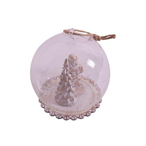 Hanging White Santa Globe