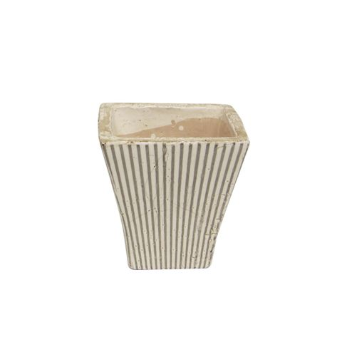 Grey Striped Small Square Planter