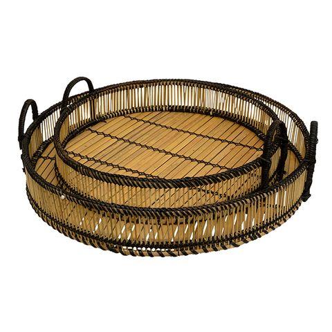 SET 2 Round Woven Trays