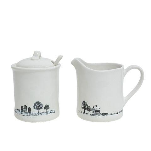 Engraved Milk Jug and Sugar Pot Set